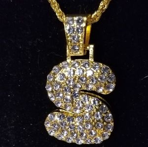 """NWOT Gold Tone CZ Puffy Letter """"S"""" 24"""" Chain"""